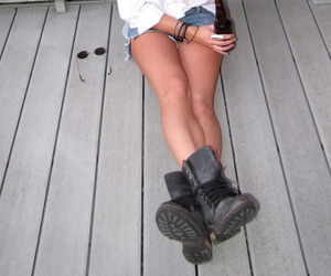 boots, alcohol, and legs image