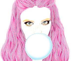 art, pink, and hair image