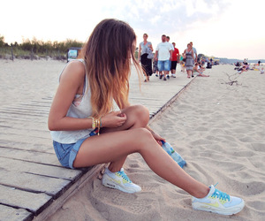 girl, air max, and beach image
