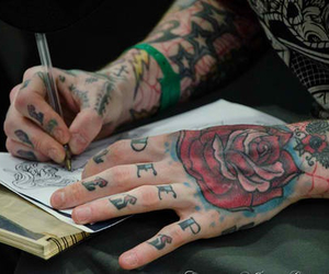 tattoo, boy, and rose image