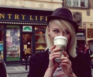 girl, photography, and starbucks image