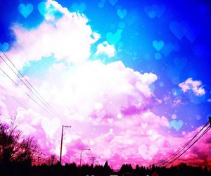 be free, clouds, and hearts image