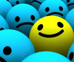 smile, blue, and yellow image