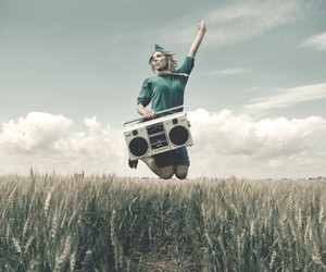 girl, radio, and clouds image