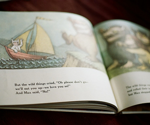 book, where the wild things are, and vintage image