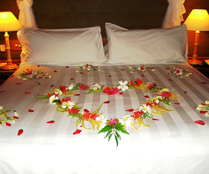 bed, heart, and flowers image