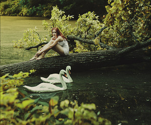 girl, Swan, and nature image