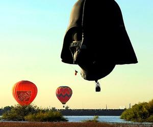 balloons, darth vader, and star wars image
