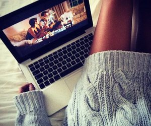movie, sweater, and legs image