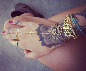 tattoo, ring, and hand image