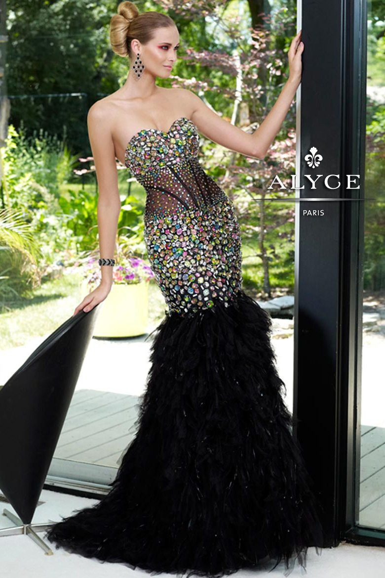 Alyce Paris 6095 ヨ Multi Feather Mermaid Dress, Prom Dresses ...