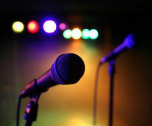 microphone, lights, and sing image