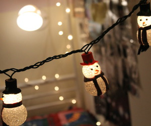 christmas, light, and snowman image