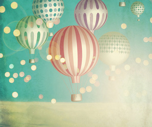 balloon, christmas, and clouds image