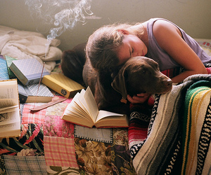 dog, book, and girl image