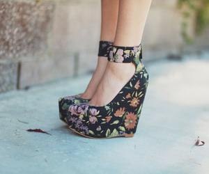 shoes, heels, and floral image