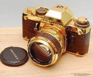 camera, gold, and pentax image