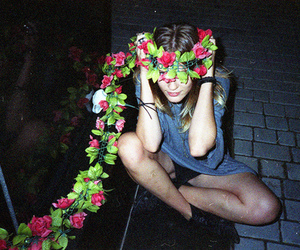 flowers, garland, and girl image