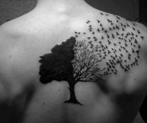 birds, tatto, and black and white image