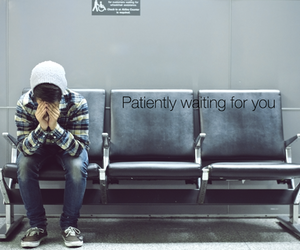 boy, waiting, and text image