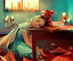 art, sleep, and teddy bear image