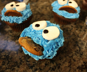 cupcake, blue, and cookie image