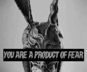 fear, donnie darko, and black and white image