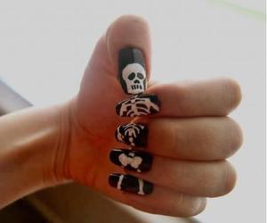 nails, skeleton, and black image