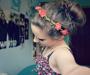 buns, fashion, and floral image