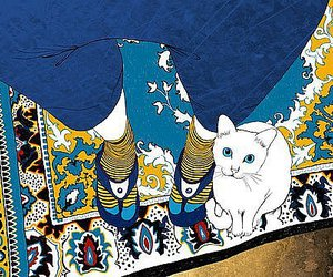 cat, illustration, and carpet image