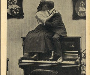 piano, love, and couple image