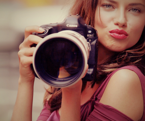 Adriana Lima, camera, and model image