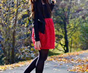 girl, fall, and red image