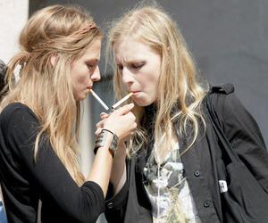 girl, model, and cigarette image