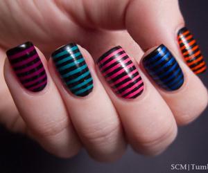 nails, nail art, and stripes image