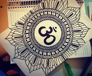 drawing, mandala, and Ohm image