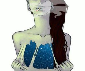 girl, smoke, and galaxy image