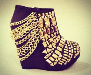 shoes, gold, and black image