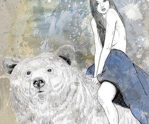 girl, bear, and illustration image