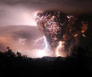 chile, lightning, and volcano image