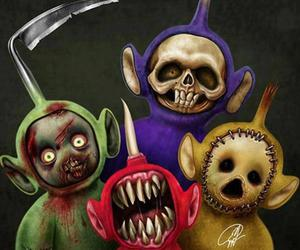 teletubbies, horror, and scary image