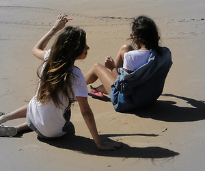 friends, beach, and girls image