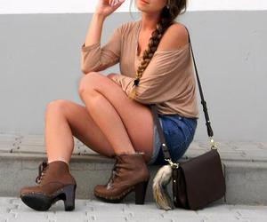 bag, brown, and boots image