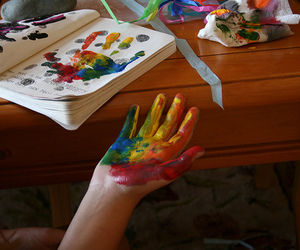 paint, book, and hand image