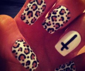 nails, cross, and leopard image