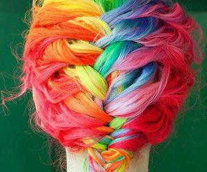 hair, rainbow, and braid image