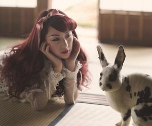 girl, rabbit, and bunny image