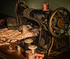 vintage, sewing machine, and antique image