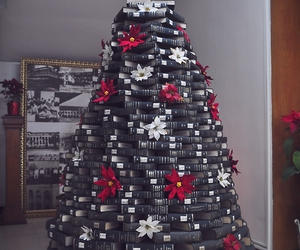book lovers, books, and christmas tree image
