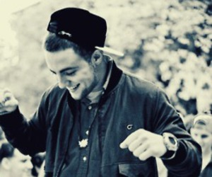 mac miller, black and white, and smile image